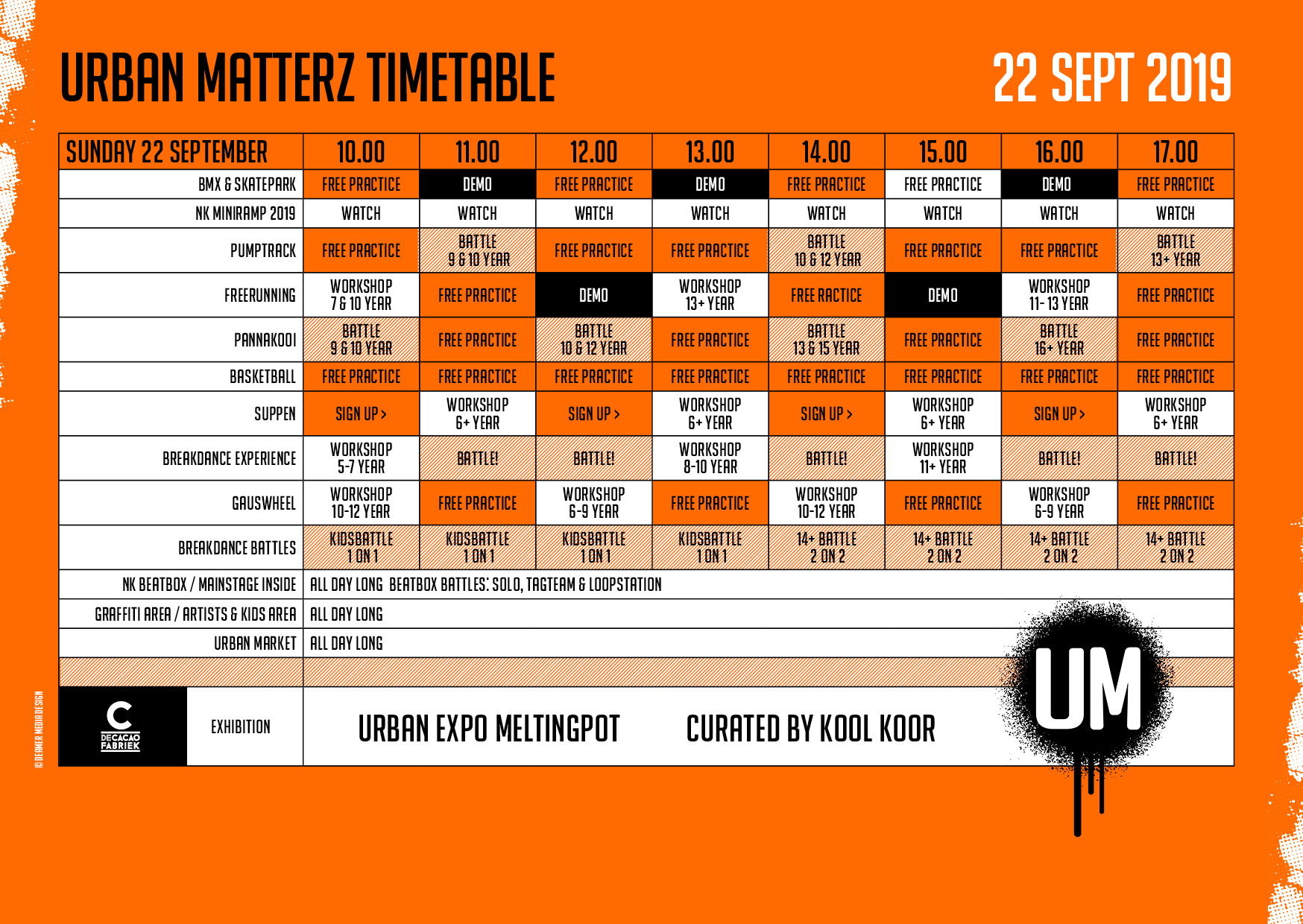urbanmatterz timetable zondag 22 september